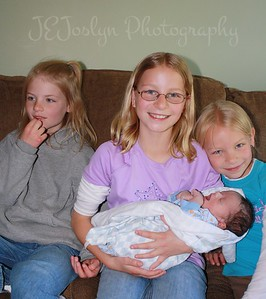 RJ and GD1, GD2 and GD3 - visiting with him at 1 week old, born May 9, 2009.