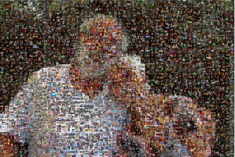 "The mosaic made up of 2200 tiles using 880 photos that friends and family gave to us to use. Print is 100x66cm large. Printed at <a href=""http://www.plexiphoto.com/"">http://www.plexiphoto.com/</a>"