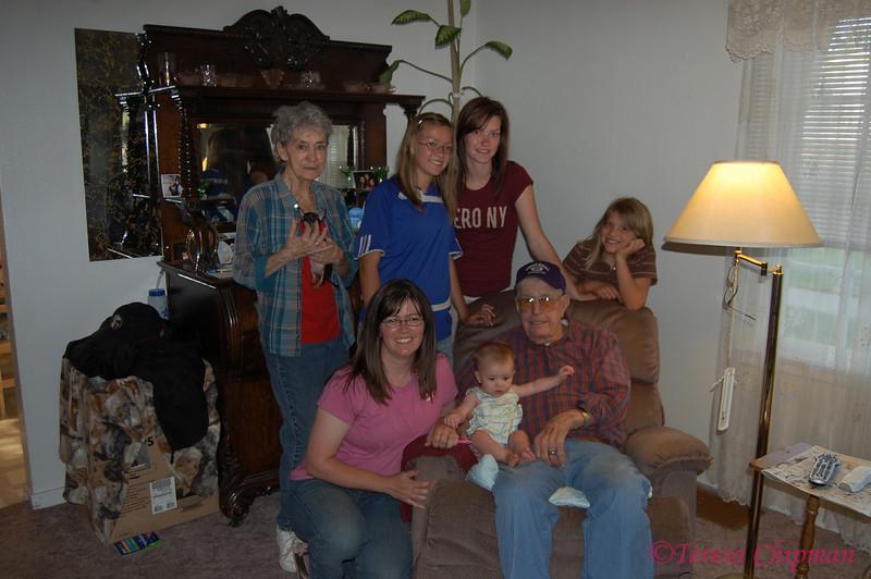 Three generations - standing - Dorean Lackner (grandma/great grandma), Brynn, Ariel, and Stephanie Chipman (great granddaughters)<br /> sitting - Teresa Chipman (granddaughter), Sabrielle Chipman (great granddaughter), Blackie Lackner (grandpa/great grandpa)
