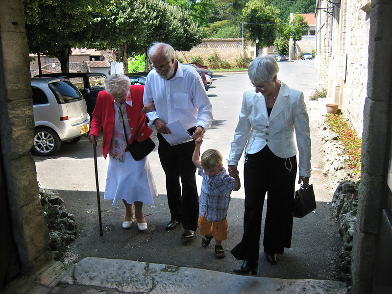 My grandmother and parents with Vincent, 2007, in Fumel