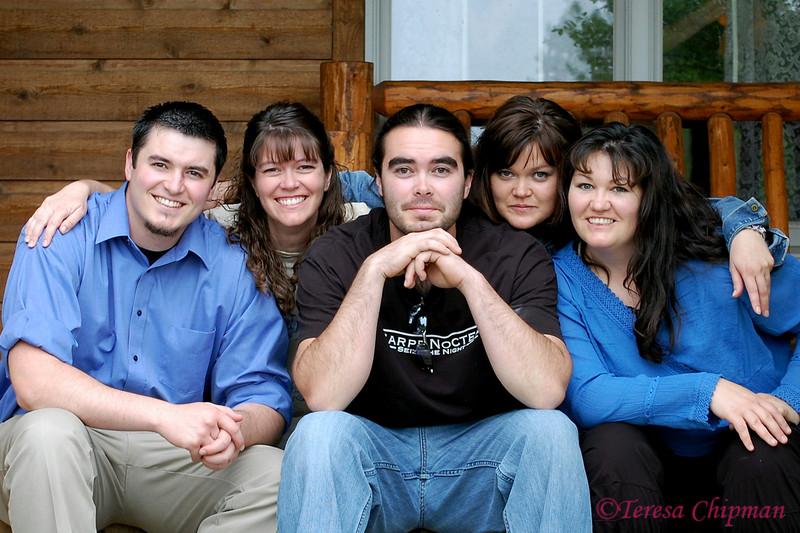Rare family photo - Michael Lake, Teresa Chipman, David Lake, Amy Ward, Michelle Beck - Big Sandy, Montana