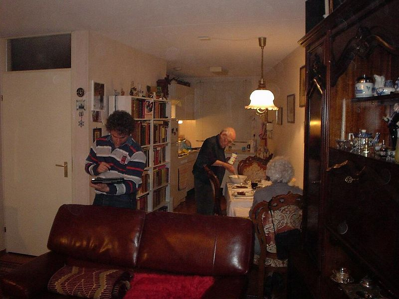 My grandparents, opa and oma Peper at their place in Schoonhoven, while I play with my cousin's new Toshiba laptop/tablet pc