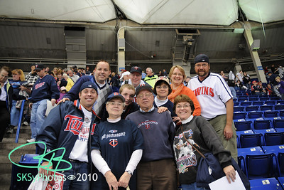 The 'last' Twins game at the Metrodome.  Sunday, Oct. 4, 2009.  However, the Twins won, tied Detroit for the division lead, then beat the Tigers in a classic 12-inning nail-biter of a play-in game 6 to 5 on Tues. Some in this picture will attend Twins vs. Yankees on Sunday the 11th. . . and hopefully beyond!!