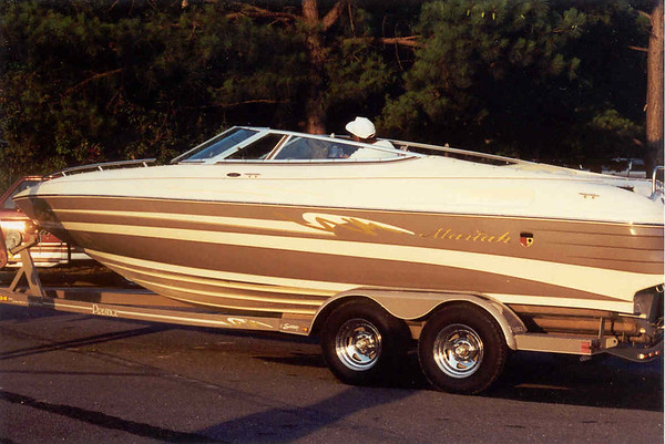 My boat Mandy a 22foot Mariah with 350 Mag V-8.  Top speed 50MPH