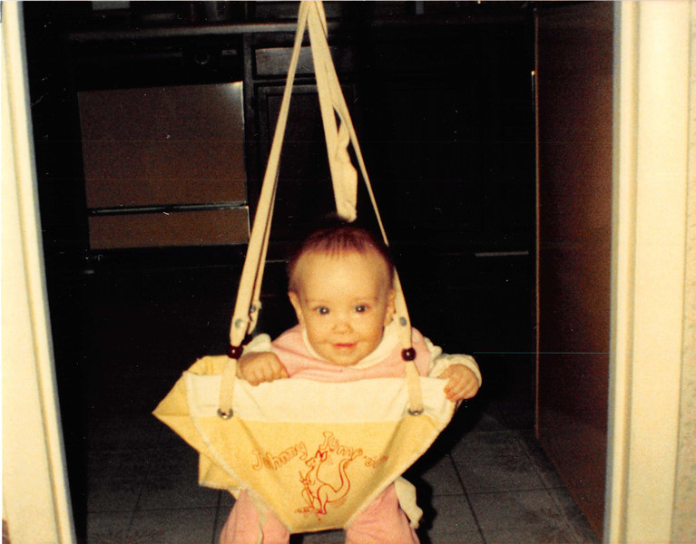 Feb. 1987<br /> 2007 Broken Oak Dr., Blacksburg, Va<br /> Cindy (7 months) enjoying the Johnny Jump-up.