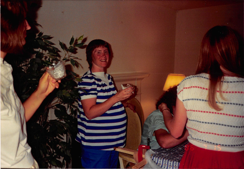 July 1986<br /> Karin Ruble's home in Los Altos at my baby shower<br /> myself, Elaine Pinto, & Cindy Carter