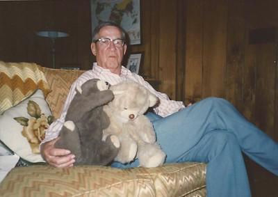 Daddy tending Barnary & Fluffy - Spring 1986