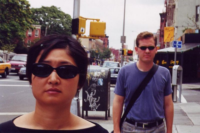 with Linda on 7th Ave., Greenwich Village - 2000