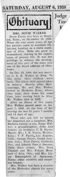 Dovie Farris Walker farris walker obituary august 6 - 1938 129