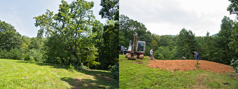 Before/after from the west (lower) side.  Little pine tree in lower center gives a reference point.