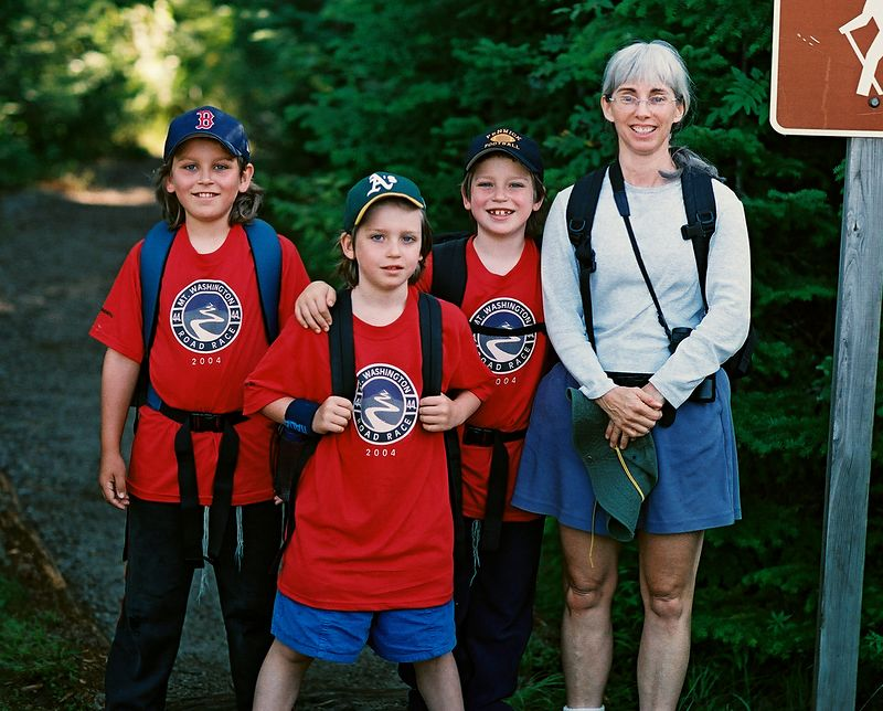 Sandy, Alec, Benjy and Joanne ready to start up the Ammonoosuc Ravine trail