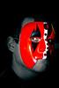 """John in his """"Antigone"""" mask."""