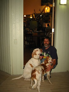 At last we arrive at the door of the Dreher's home. Ken is greeted by the dogs.