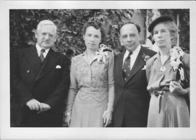 left to right, the Pastor, Eugenia Josephine Breeze Hawkins, Oliver Perry Hawkins, Ethel Josphine Oldham Breeze on Eugenia and Oliver's wedding day 21 Sept. 1943