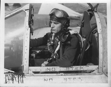 Col. Phillip Owen Robertson in the cockpit of his P-38 during WWII