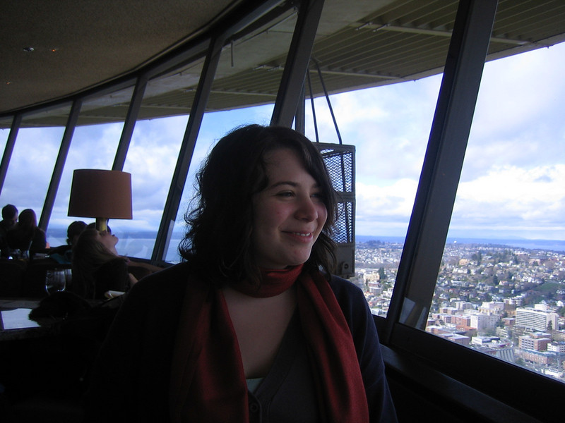 On top of the Space Needle, dining.