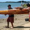 Kamehameha Canoe Club's six-person koa canoe.