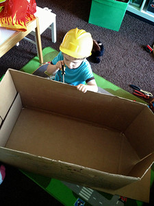 Nate building his Pirate ship with Daddy