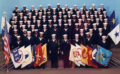 My group Bootcamp picture, company 355 started out on August 21, 1989 with about 80 recruits, we ended up with about 76. We graduated from bootcamp on October 21, 1989. I am located third row from the top, second person from the right.
