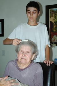 Nellie & Jeff combing-2