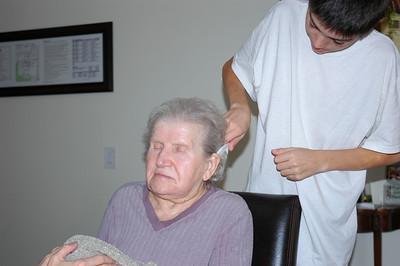 Nellie & Jeff combing-1