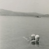 """Aunt Verna and Johnnie in the Spofford Lake, '40."" [Spofford Lake is about 10 miles west of Swanzey.]"