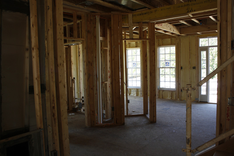 in the middle is a hallway closet and to the left of it is the door to the 1st floor bathroom