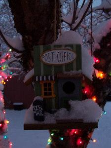 A frosty birdhouse.