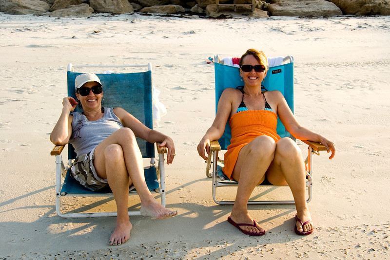 Cynthia and Cindy relax on the beach