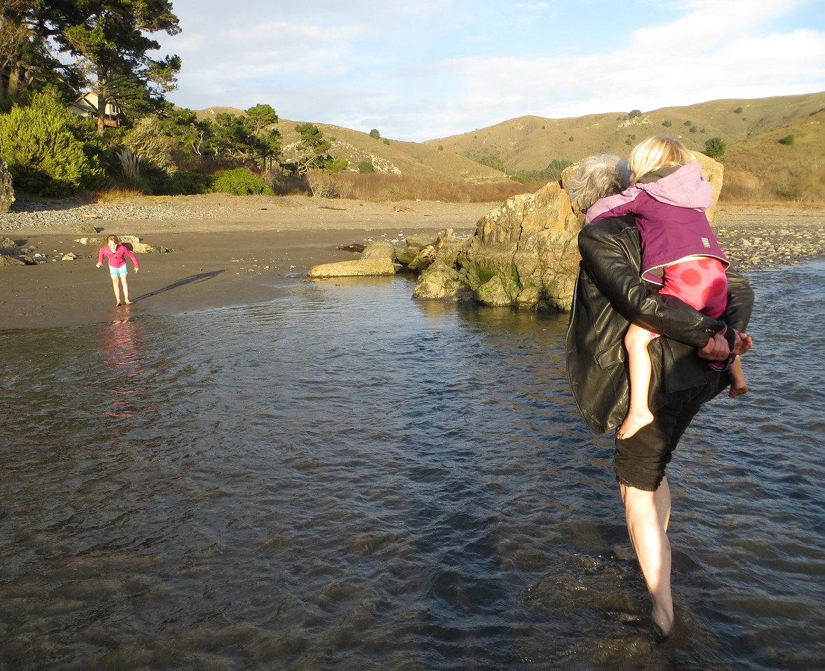 Howard carries a reluctant Allegra over the water.
