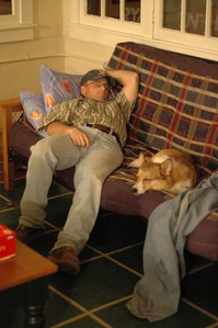 Dean and Haskell take a nap.