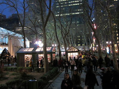 Bryant Park.  These little buildings are selling everything.  Just during the winter--in summer they're gone, as is the ice skating rink and the 2 story restaurant on the right