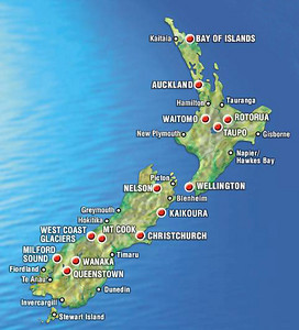 In my six months of work and travel around New Zealand I visited all of the towns and cities identified on this map, with the exception of New Plymouth and Stewart Isand.