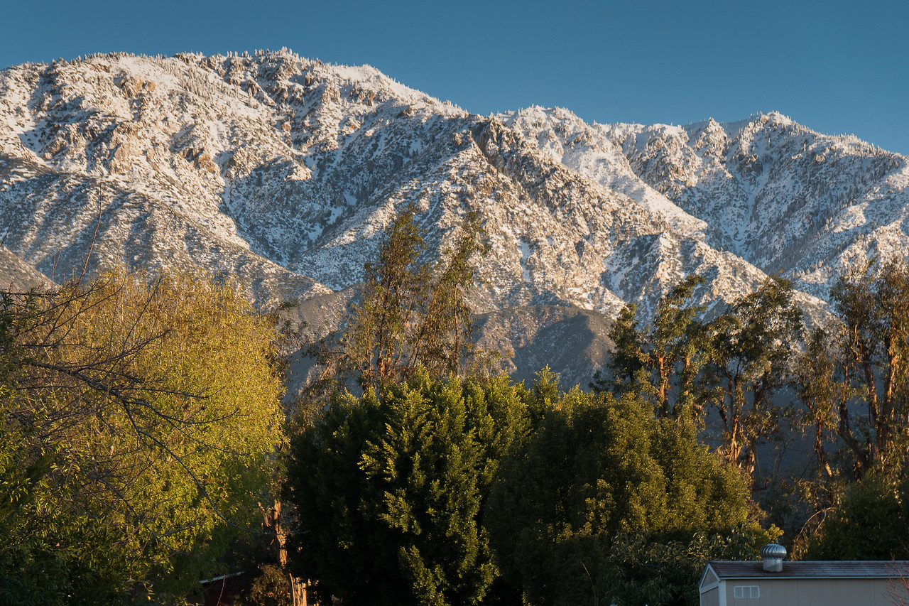 The San Gabriel Mountains dusted with snow