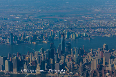 Shot from plane coming into New York City- Lower Manhattan