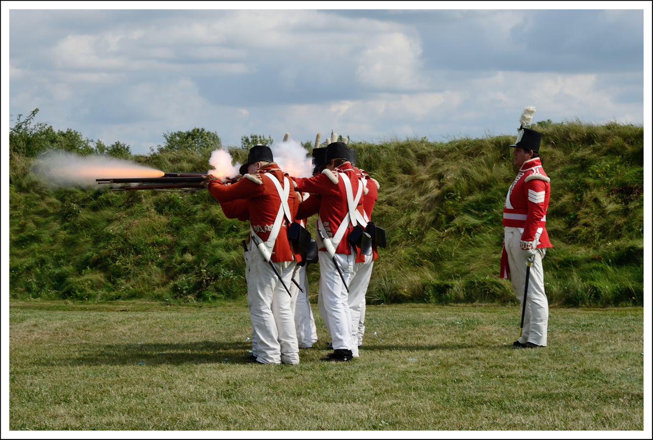 A musket demonstration at Ft. Gary