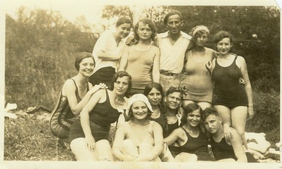 Here is Eva as a young girl with her friends (bottom left in the dark bathing suit).