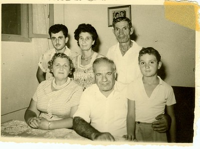 My father's father, Max, and his wife Ethel in Israel in 1960.  After Eva died, when my father was 12, Max married Ethel.  Ethel was Eva's best friend who stepped in to make sure that my dad and his brother Moishe (Murray) were taken care of.  I don't know who the others are in this picture.