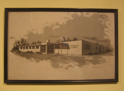 "Drawing of the new Nichols and Clack factory on Route 1, ""HOME OF UNEX HEARING AIDS"""