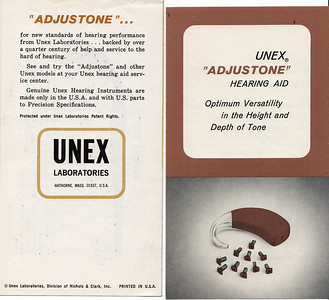 Brochure for one of Nick's many hearing aids. He was the engineer, designer.