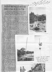 In 1988 my father sent me this photocopy that combines a 1939 article about his portable ski tow, and photos. His handwritten caption:  $10 'BJ' sailboat after restoration using ski tow for trailer!