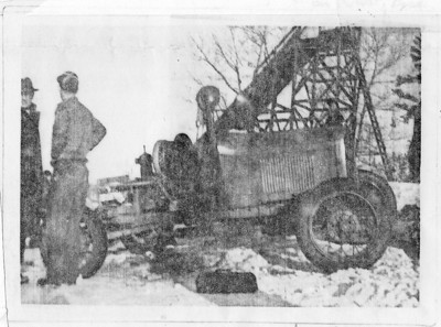 Portable ski tow built by Nick Nichols and his friend Karl Struss and taken to various locations in eastern MA and NH. (1939?)