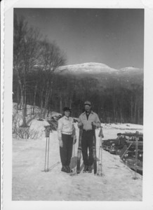 "March 21, 1953. Cut and Nick, Mt Mansfield, Stove, VT. (Note his short ""goon"" skis.)"