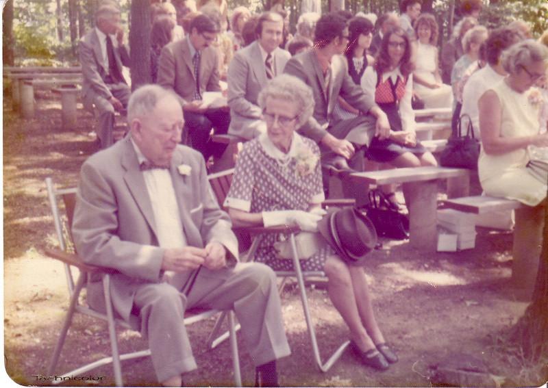 Murdo & Annie Nicholson at Lynn & Pat's Wedding<br /> Mr. McDonough, Donald Murray, Ray & Audrey Hunt, Wilda all in end seats from tree foward