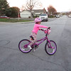 Nicole testingo out her new bike (Christmas Day)