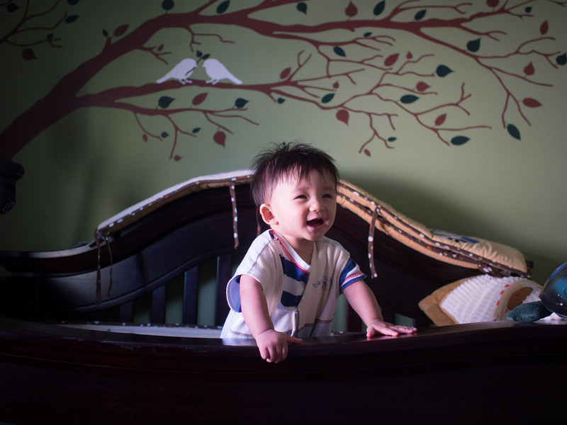 Noah is able to pull up onto the railing of the crib.  Time to drop it down soon.
