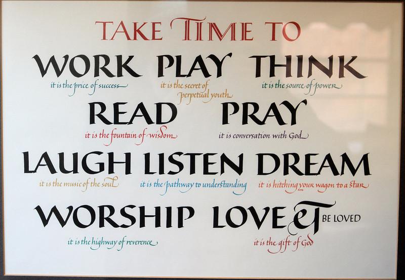 Wisdom on Beth's wall.