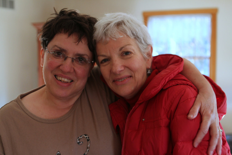 Beth Sweitzer-Riley with her Sister In Law Sarah Haynes Sweitzer. The hug good-bye.