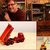 An old timey crank telephone and matchbox trucks - a pleasant journey into yesteryear displayed in the garage.