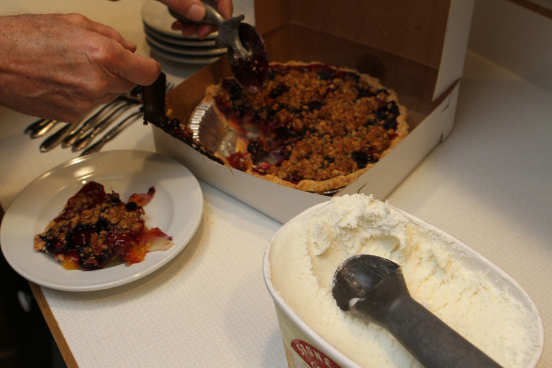 Mixed Berry Pie from a local pie baker.  Yum.